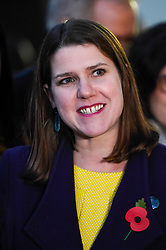 © Licensed to London News Pictures. 30/10/2019. LONDON, UK.  Jo Swinson, Leader of the Liberal Democrats, addresses the media outside the Houses of Parliament.  She stood with senior members of her party, as the Lib Dems launched their election campaign ahead of the General Election on 12 December.  Photo credit: Stephen Chung/LNP