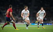 Twickenham, England. Owen FARRELL running through mid field with the ball during the  QBE International. England vs France [World cup warm up match]  {DOW  {DATE}  [Mandatory Credit. Peter SPURRIER/Intersport Images.