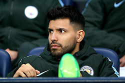 Manchester City's Sergio Aguero on the bench during the UEFA Champions League, Quarter Final at the Etihad Stadium, Manchester.