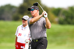 August 3, 2018 - Blaine, MN, U.S. - BLAINE, MN - AUGUST 03: Peter Lonard hits his tee shot on the first hole during the first round of the 3M Championship on August 3, 2018 at TPC Twin Cities in Blaine, Minnesota. (Photo by David Berding/Icon Sportswire) (Credit Image: © David Berding/Icon SMI via ZUMA Press)