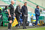 Hibernian FC manager, Jack Ross looks towards the assistant referee during the SPFL Premiership match between Hibernian and St Johnstone at Easter Road Stadium, Edinburgh, Scotland on 1 May 2021.