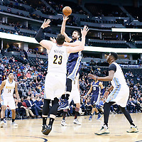 01 February 2016: Memphis Grizzlies center Marc Gasol (33) goes for the jump shot over Denver Nuggets center Jusuf Nurkic (23) during the Memphis Grizzlies 119-99 victory over the Denver Nuggets, at the Pepsi Center, Denver, Colorado, USA.