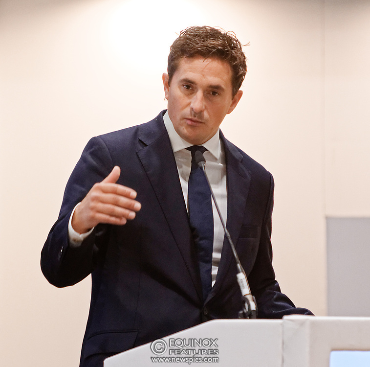 London, United Kingdom - 12 September 2019<br /> Johnny Mercer MP, Parliamentary Under-Secretary of State for Defence People and Veterans for the UK Government gives a keynote address speech and answers questions from the audience at DSEI 2019 security, defence and arms fair at ExCeL London exhibition centre.<br /> (photo by: EQUINOXFEATURES.COM)<br /> Picture Data:<br /> Photographer: Equinox Features<br /> Copyright: ©2019 Equinox Licensing Ltd. +443700 780000<br /> Contact: Equinox Features<br /> Date Taken: 20190912<br /> Time Taken: 10183324<br /> www.newspics.com