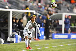 February 27, 2019 - Chester, PA, U.S. - CHESTER, PA - FEBRUARY 27: Japan Defender Saori Ariyoshi (6) makes a throw-in pass in the first half during the She Believes Cup game between Japan and the United States on February 27, 2019 at Talen Energy Stadium in Chester, PA. (Photo by Kyle Ross/Icon Sportswire) (Credit Image: © Kyle Ross/Icon SMI via ZUMA Press)