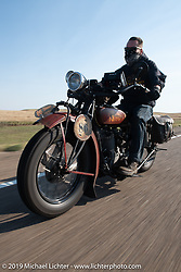 Shane Masters riding his 1925 Indian Chief in the Motorcycle Cannonball coast to coast vintage run. Stage 9 (294 miles) from Pierre to Sturgis, SD. Sunday September 16, 2018. Photography ©2018 Michael Lichter.
