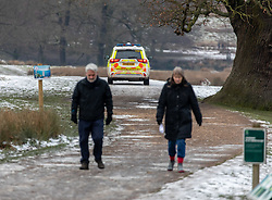 © Licensed to London News Pictures. 26/01/2021. London, UK. Police patrol Richmond Park in South West London as walkers enjoy the remains of the melting snow as the government mulls over plans to force all UK arrivals at airports and ports to quarantine in hotels across the country as the coronavirus crisis continues into 2021. Photo credit: Alex Lentati/LNP
