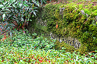 Yao Japanese Garden in the Bellevue Botanical Gardens boulder sign covered in moss