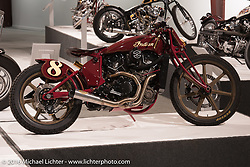 Roland Sands' custom Indian Scout Racer in Michael Lichter's Skin & Bones tattoo inspired Motorcycles as Art show at the Buffalo Chip Gallery during the annual Sturgis Black Hills Motorcycle Rally.  SD, USA.  August 10, 2016.  Photography ©2016 Michael Lichter.