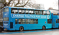 Brexit Party  bus Millbank Tower, London, England
