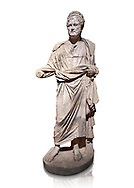 Roman statue of Emperor Priest. Marble. Perge. 2nd century AD. Inv no . Antalya Archaeology Museum; Turkey. Against a white background. .<br /> <br /> If you prefer to buy from our ALAMY STOCK LIBRARY page at https://www.alamy.com/portfolio/paul-williams-funkystock/greco-roman-sculptures.html . Type -    Antalya     - into LOWER SEARCH WITHIN GALLERY box - Refine search by adding a subject, place, background colour, museum etc.<br /> <br /> Visit our ROMAN WORLD PHOTO COLLECTIONS for more photos to download or buy as wall art prints https://funkystock.photoshelter.com/gallery-collection/The-Romans-Art-Artefacts-Antiquities-Historic-Sites-Pictures-Images/C0000r2uLJJo9_s0