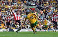 Photo: Ashley Pickering.<br /> Norwich City v Southampton. Coca Cola Championship. 18/08/2007.<br /> Jamie Cureton (no. 10) scores his second goal for Norwich