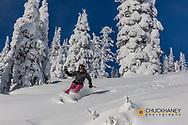 Powder ski action at Whitefish Mountain Resort, Montana, USA MR