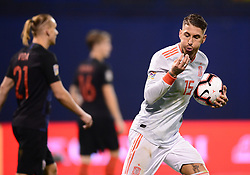 ZAGREB, Nov. 15, 2018  Sergio Ramos of Spain during the UEFA Nations League A group 4 match between Croatia and Spain at Maksimir stadium in Zagreb, Croatia, on November 15. Croatia won 3:2. (Credit Image: © Marko Prpic/Pixsell/Xinhua via ZUMA Wire)