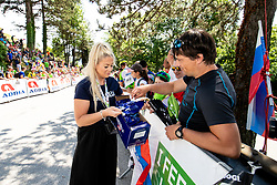 Frutabela girl and the fans during the 4th Stage of 27th Tour of Slovenia 2021 cycling race between Ajdovscina and Nova Gorica (164,1 km), on June 12, 2021 in Slovenia. Photo by Matic Klansek Velej / Sportida