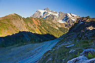 Highway 20 coils up the mountain to Artist Point with Mount Shuksan in the background - Mount Baker-Snoqualmie National Forest, Washington State, USA.