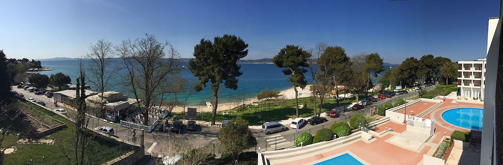 Panoramic view of the Adriatic Sea and coastline from the modern Hotel Kolovare in Zadar, Croatia.