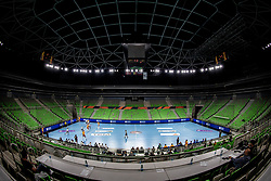 Arena Stozice without fans due to COVID-19 restrictions during handball match between RK Trimo Trebnje and GOG Gudme in 9th Round of EHF Europe League 2020/21, on February 24, 2021 in Arena Stozice, Ljubljana, Slovenia. Photo by Vid Ponikvar / Sportida