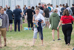 June 24, 2017 - Glastonbury, United Kingdom - Image licensed to i-Images Picture Agency. 23/06/2017. Glastonbury, United Kingdom. Yvette Cooper queues for showers at the Glastonbury Festival, United Kingdom.  Picture by i-Images (Credit Image: © i-Images via ZUMA Press)