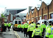 Police arrive before the match.  EFL Skybet championship match, Aston Villa v Birmingham city at Villa Park in Birmingham, The Midlands on Sunday 23rd April 2017.<br /> pic by Bradley Collyer, Andrew Orchard sports photography.