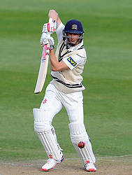 Middlesex's John Simpson drives the ball off the bowling of Somerset's Jamie Overton. - Photo mandatory by-line: Harry Trump/JMP - Mobile: 07966 386802 - 27/04/15 - SPORT - CRICKET - LVCC Division One - County Championship - Somerset v Middlesex - Day 2 - The County Ground, Taunton, England.