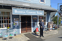 Bodega, Sonoma County, California, USA, town, village, famous because film director, Alfred Hitchcock, shot location scenes for his movie, The Birds, in the town's Roman Catholic Church of St Teresa of Avila. Life-size Hitchcock statue in front of the village store. 201304292005<br />