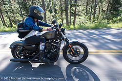 Iron Lily Kissa Von Addams on the Harley-Davidson Angels Ride to benefit the Nature Conservancy during the annual Sturgis Black Hills Motorcycle Rally.  SD, USA.  August 12, 2016.  Photography ©2016 Michael Lichter.