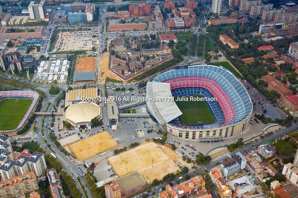 Aerial view of Nou Camp Stadium FC Barcelona Stadium