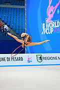 Staniouta Melitina during final at hoop in Pesaro World Cup 03 April 2016. Melitina is an Belarusian rhythmic gymnast, she was born in 15 November 1993 Minsk. She is a three time World All-around bronze medalist in 2015,2013,2010 retired from rhythmic gymnastics in December 2016.