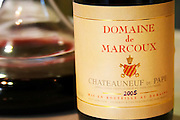 Domaine de Marcoux, Chateauneuf-du-Pape. Rhone. Wine aerating in a carafe. France Europe. Bottle.