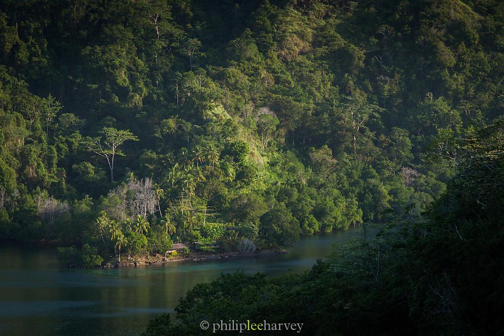 View of village on McClaren Fjord, Tufi, Cape Nelson, Oro Province, Papua New Guinea