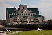 "The SIS Building, also commonly known as the MI6 Building, is the headquarters of the British Secret Intelligence Service (otherwise known as ""MI6""). It is known within the intelligence community as Legoland and also as ""Babylon-on-Thames"" due to its resemblance to an ancient Babylonian ziggurat. It is located at 85, Albert Embankment in the south western part of central London, on the bank of the River Thames"
