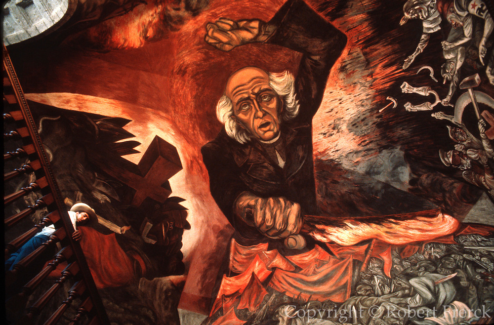 MEXICO, GUADALAJARA 'Father Hidalgo' mural by Orozco