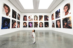 © Licensed to London News Pictures. 04/02/2019. London, UK. Two year old Lily Tang views installation the Insomnia Room installation by artist tracey Emin. The art work is showing as part of the 'A Fortnight of Tears Exhibiton' at The White Cube gallery. Editorial usage only. Photo credit: Ray Tang/LNP