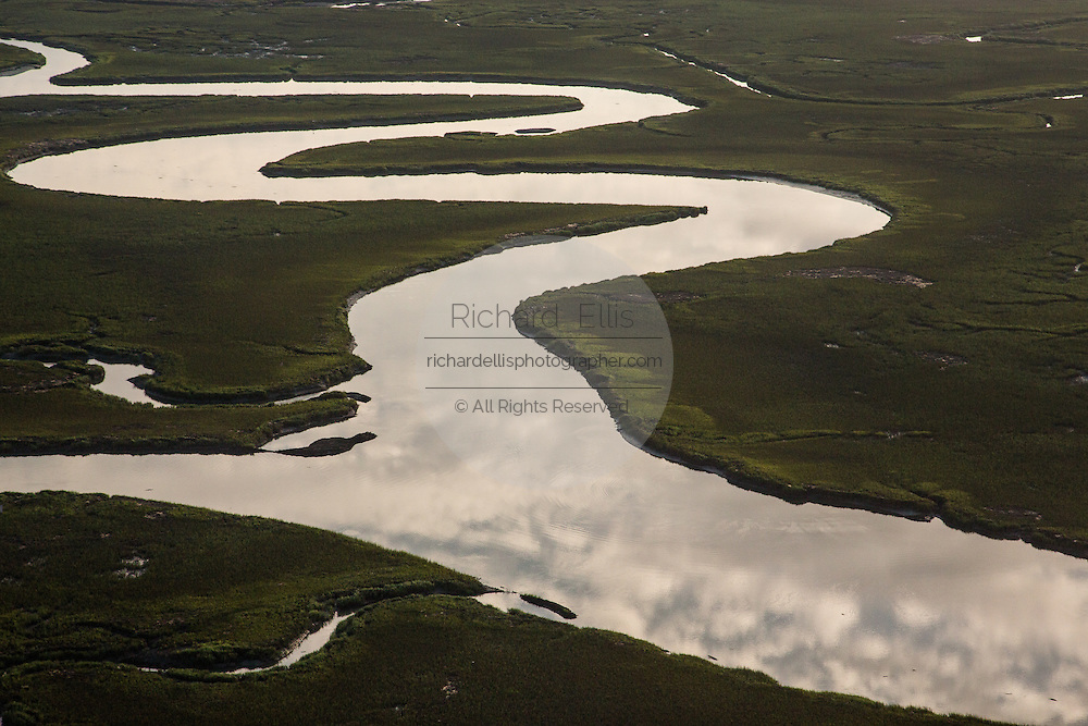 Aerial view of the tidal marsh in Charleston, SC