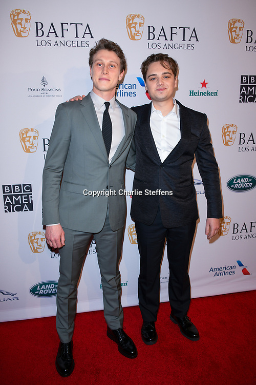 George MacKay, left, and Dean-Charles Chapman attend the 2020 BAFTA Tea Party at the Four Seasons Hotel in Los Angeles, California