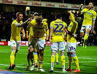 Leeds United's Patrick Bamford celebrates scoring the opening goal <br /> <br /> Photographer Alex Dodd/CameraSport<br /> <br /> The EFL Sky Bet Championship - Preston North End v Leeds United -Tuesday 9th April 2019 - Deepdale Stadium - Preston<br /> <br /> World Copyright © 2019 CameraSport. All rights reserved. 43 Linden Ave. Countesthorpe. Leicester. England. LE8 5PG - Tel: +44 (0) 116 277 4147 - admin@camerasport.com - www.camerasport.com