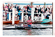 Henley on Thames, England, 1999 Henley Royal Regatta, River Thames, Henley Reach,  [© Peter Spurrier/Intersport Images], The Diamond Sculls Challenge Cup. USA M1X., Aquil ABDULLAH, Princeton Training Center, USA.,