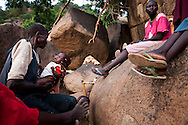 Familes displaced by bombing and fighting live in caves near Kurchi after SAF bombing forced them to flee to caves for protection. Thousands of people have fled to caves to live after repeated bombing attacked by Sudan government forces on civilians areas.
