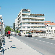 MOSTAR, BOSNIA AND HERZEGOVINA - JUNE 26:  A general view of the Tito Bridge leading to the Bristol Hotel on  June 26, 2013 in Mostar, Bosnia and Herzegovina.The Siege of Mostar reached its peak and more cruent time during 1993. Initially, it involved the Croatian Defence Council (HVO) and the 4th Corps of the ARBiH fighting against the Yugoslav People's Army (JNA) later Croats and Muslim Bosnian began to fight amongst each other, it ended with Bosnia and Herzegovina declaring independence from Yugoslavia.  (Photo by Marco Secchi/Getty Images)