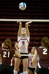 18 November 2005: Emily Kabbes performs a 2 handed set. Jamie Adams and Ashley Warren ready for the action. Missouri State Bears clawed their way past the Illinois State Redbirds in 4 games to take the match played at Redbird Arena in Normal Illinois.