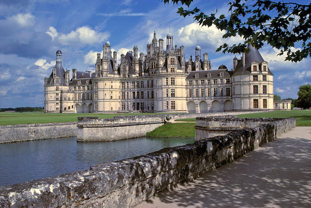 Imposing Chateau Chambord is one of the largest chateaux in the Loire Valley, in France.