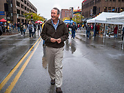 19 OCTOBER 2019 - DES MOINES, IOWA: MARK SANFORD (R-SC) walks through the Des Moines Farmers' Market during a campaign visit to the market Saturday. Sanford, a former Republican governor and Congressman from South Carolina, is challenging incumbent President Donald Trump for the Republican nomination for the US presidency. Iowa hosts the first event of the presidential selection cycle. The Iowa Caucuses are scheduled for February 3, 2020.               PHOTO BY JACK KURTZ
