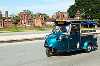 """The vehicles known as Tuk-Tuk originated in Japan by Daihatsu and it was Thailand who subsequently produced these vehicles many years later. evolving as a motorized relative of the rickshaw. The Tuk-Tuk was given its name from the rather rough sound of the early models. The single stroke motor powering the first three-wheelers had a distinctive hum when operating, and the """"tuk-tuk-tuk-tuk-tuk"""" sound became a familiar sound to many in need of quick and convenient transportation in Bangkok. The technology and quality have improved over the years, while emerging as one of Thailand's most recognizable and identifiable symbols. Ayuthaya style Tuk-Tuks are built by hand, all the buyer has to do is turn up with the part of the old frame with the chasis number stamped on it and a new Tuk-Tuk is built around it. !"""