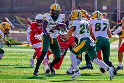 NORMAL, IL - October 16: Quincy Patterson laterals to Dominic Gonnella during a college football game between the NDSU (North Dakota State) Bison and the ISU (Illinois State University) Redbirds on October 16 2021 at Hancock Stadium in Normal, IL. (Photo by Alan Look)
