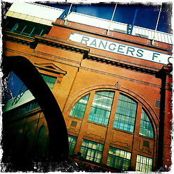 Ibrox Stadium, home of Rangers FC..Hipstamatic images taken on an Apple iPhone..©Michael Schofield.
