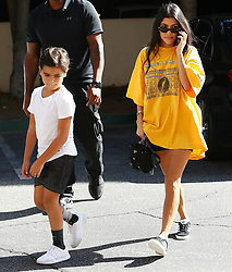 Kourtney Kardashian seen arriving to son Mason's art class in Los Angeles, CA. 22 Aug 2017 Pictured: Kourtney Kardashian, Mason Disick. Photo credit: MEGA TheMegaAgency.com +1 888 505 6342