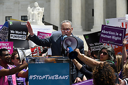 Senate Minority Leader Chuck Schumer, (NY) speaks during a rally at the Supreme Court in reaction to the passage of bills in Alabama, Georgia, Missouri and other states that restrict access to abortion on May 21, 2019 in Washington, DC. Photo by Olivier Douliery/ABACAPRESS.COM