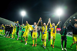 Players of Ukraine celebrate after the UEFA EURO 2016 Play-off for Final Tournament, Second leg between Slovenia and Ukraine, on November 17, 2015 in Stadium Ljudski vrt, Maribor, Slovenia. Photo by Vid Ponikvar / Sportida