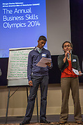 Purchase, NY – 31 October 2014. The team from Yonkers Montessori Academy giving their presentation. (Left to right: Edward Ortiz, Naira Luke-Aleman.) The Business Skills Olympics was founded by the African American Men of Westchester, is sponsored and facilitated by Morgan Stanley, and is open to high school teams in Westchester County.