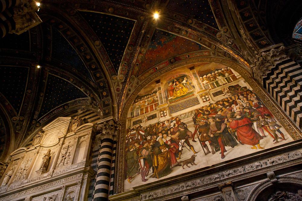 Interior paintings in the Duomo di Santa Maria Assunta, Siena Cathedral